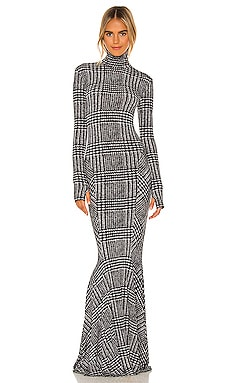 Long Sleeve Turtle Fishtail Gown Norma Kamali $335 NEW