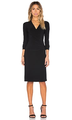 KAMALIKULTURE Long Sleeve Side Draped Dress in Solid Black