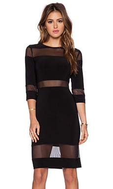 Norma Kamali KAMALIKULTURE Mesh Insert Dress in Black & Mesh