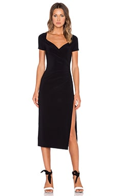 Norma Kamali KAMALI KULTURE Short Sleeve Sweetheart Midi Dress in Black