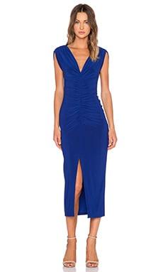 Norma Kamali KAMALI KULTURE Shirred Party Midi Dress in Blueberry