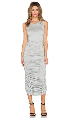 Sweats by Norma Kamali Shirred Teaser Midi Dress in Heather Grey