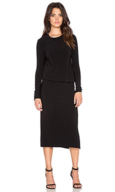 Norma Kamali KAMALI KULTURE Long Sleeve Midi Dress in Black