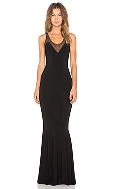 KAMALI KULTURE Racerback Fishtail Maxi Dress in Black & Black Mesh