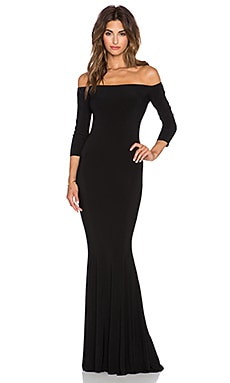 Norma Kamali NORMA KULTURE Off The Shoulder Fishtail Gown in Black