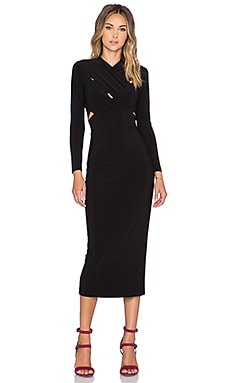 Norma Kamali NORMA KULTURE X Cross Midi Dress in Black