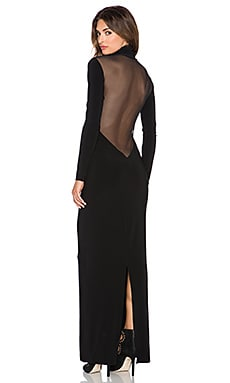 Norma Kamali NORMA KULTURE Turtleneck Low Back Mesh Gown in Black & Black Mesh