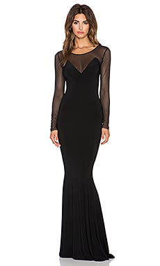 Norma Kamali NORMA KULTURE Long Sleeve Fishtail Gown in Black & Black Mesh