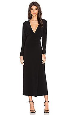 Norma Kamali Dolman Wrap Midi Dress in Black