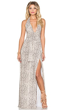 Norma Kamali Halter Wrap Maxi Dress in Python