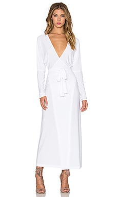 Norma Kamali Dolman Wrap Midi Dress in White