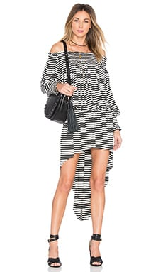 Norma Kamali Peasant Hi Low Dress in Black & White