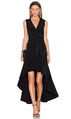 Norma Kamali Sleeveless Flared Wrap Dress in Black