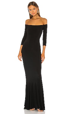 Off the Shoulder Fishtail Gown in Black