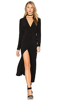 Dolman Wrap Dress in Black