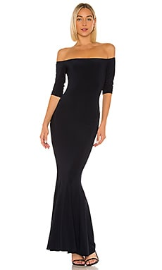 Off The Shoulder Fishtail Gown in Midnight