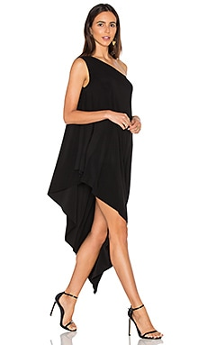 One Shoulder Diagonal Tunic in Black