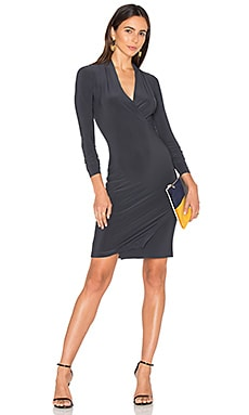 Long Sleeve Modern Side Drape Dress in Pewter