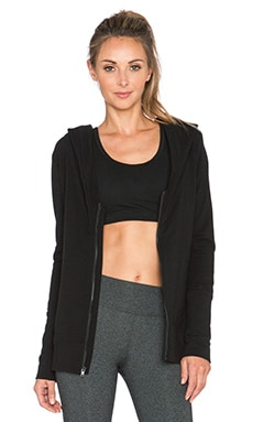 Sweats by Norma Kamali Zip Hood Hoodie in Black