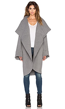 Sweats by Norma Kamali Belted Shawl Collar Jacket in Dark Grey