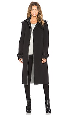 Norma Kamali Sweats by Norma Kamali Double Breast Wrap Trench Coat in Dark Grey