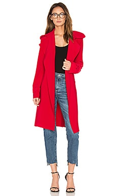 Double Breasted Bonded Trench in Red