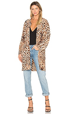 Mens Bonded Trench Coat in Caramel Leopard