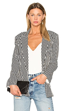 Vertical Stripe Double Breasted Jacket en Ivoire & Rayé Noir