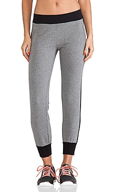 Sweats by Norma Kamali Side Stripe Jogging Pants in Dark Grey & Black