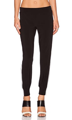 Norma Kamali KAMALIKULTURE Side Stripe Jog Pant in Black & Off White