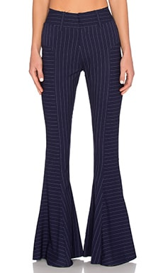 Norma Kamali High Waisted Fishtail Pant in Blue Pinstripe