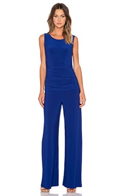 Norma Kamali KAMALI KULTURE Sleeveless Shirred Waist Jumpsuit in Blueberry