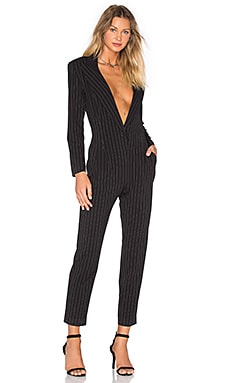 Norma Kamali Tapered Leg Jumpsuit in Black Pinstripe