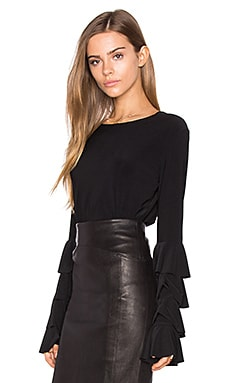 Ruffle Tee in Black