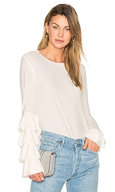 x REVOLVE Ruffle Tee in White in Ivory