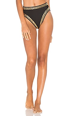 Stud Bikini Bottom in Black & Gold
