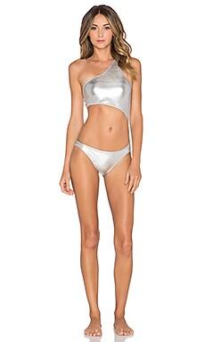 Norma Kamali Shane Swimsuit in Silver Foil