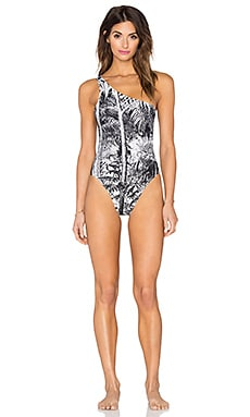 Norma Kamali One Shoulder Mio Swimsuit in Jungle