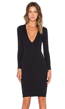 Nookie Bombshell V Neck Dress in Black