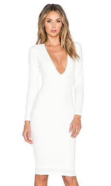 Nookie Bombshell V Neck Dress in Ivory
