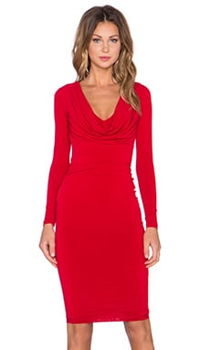 Nookie Bellissima Long Sleeve Reversible Drape Dress in Red