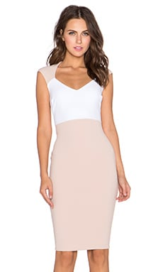 Nookie Babydoll Cap Sleeve Shift Dress in Nude & White