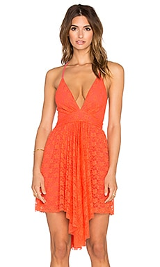 Nookie Sweetest Taboo Plunge Neck Mini Dress in Orange