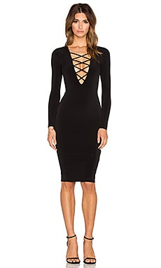 Nookie Ti Amo Lace Up Midi Dress in Black
