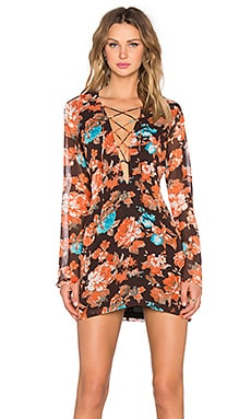 Nookie True Romance Criss Cross Dress in Orange Floral