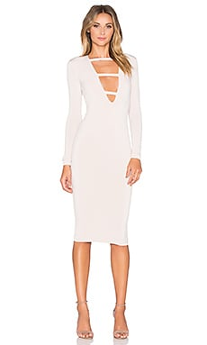 Nookie Harlow Long Sleeve Plunge Dress in Nude