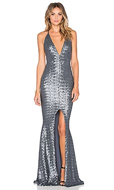 Nookie Dusk Till Dawn Plunge Gown in Pewter