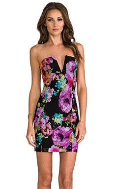 Nookie V-Front Bustier Dress in Flowerpop/Black