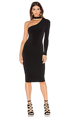 Girl Talk One Shoulder Midi Dress in Black
