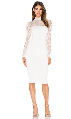 Nookie Rebel Heart High Neck Midi Dress in Ivory